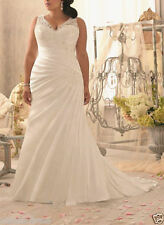 New White Ivory Organza Bridal Gown Wedding Dress Custom Plus Size 16 -28+