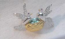 "Designer JOAN RIVERS "" Birds On A Nest "" Brooch / Pin"