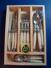 Set 24 pieces French Laguiole knives, spoons, forks by Dubost, Authenticity cert