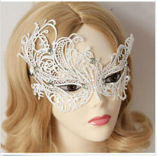 Sexy Elegant Lace Masquerade Crown Face Eye Mask Party Head Band Headband White