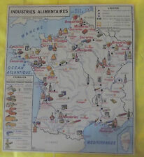 Ancienne Affiche Scolaire  France Industries Alimentaires Brasseries Fromages