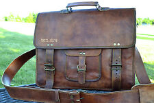 "Mens Vintage Leather Messenger Satchel Shoulder Briefcase for 15"" Laptop Bag"