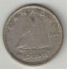 CANADA,  1944, 10 CENTS,  SILVER,  KM#34,  EXTRA FINE-ALMOST UNCIRCULATED