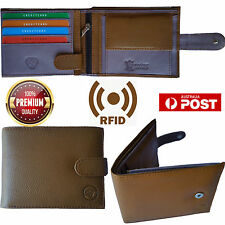 Mens Genuine Leather Wallet RFID Blocking Bifold Anti Theft Security Credit Card