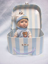 "Porcelain Collectible Boy Doll 8"" Blue eyes Blonde Hair Blue & White Suitcase"