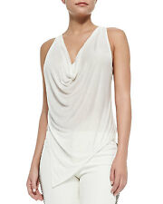 "Haute Hippie Cropped Cowl-Neck Tank Top in ""Swan"" Large NWT $103"