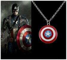 Vintage Retro Cool Men's Marvel Avengers Captain America Shield Pendant Necklace