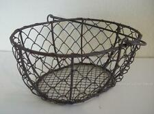"Country Primitive Farmhouse Style Chicken Wire Basket with Handle 7.25"" x 5.25"""