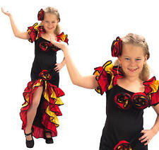 Childrens Girl Flamenco Fancy Dress Costume Spanish Dancer Salsa Kids Outfit S