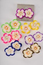 """Bulk Lot 12 Post Earrings Painted Flowers Color Assortment 1.25"""" Wide Carded"""