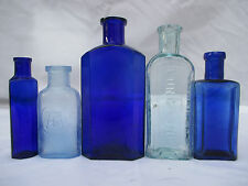 5 SUPERB BLUE GLASS CHEMIST MEDICINE APOTHECARY VINTAGE OLD BOTTLES POISON CURE