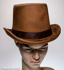 Top Hat Medium Brown Faux Suede Victorian Style Gentleman's Costume Dress Hat