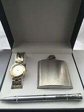 Charles Raymond Gents watch set Analogue Classic Quartz watch with a Flask & Pen