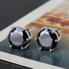 18 kt white gold Round Cut  Black Diamond Stud Earrings 2 CT