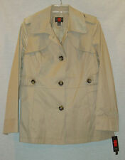 GALLERY LADIES TAN LINED WATER REPELLENT RAINCOAT SIZE LARGE NEW WITH TAGS