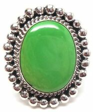 Navajo Handmade Sterling Silver Gaspeite Ring Size 7.5 -Mary Ann Spencer