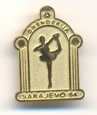 OLYMPIC  SARAJEVO 1984  SKI SKIING FIGURE SKATING SKENDERIJA  gold color badge