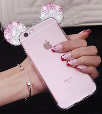 for iPhone 6+ / 6S+ PLUS - Pink Diamond Rhinestone Minnie Mouse Ears Rubber Case
