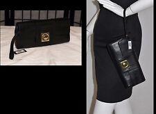 NEW w Tag Black BANANA REPUBLIC Leather Push Lock Clutch Bag Purse w Strap
