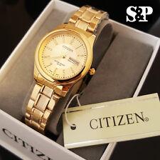 Womens Citizen 18K Gold PT Gold Dial Luxury Metal Band Date Dress Wrist Watch