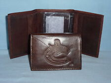 VANCOUVER CANUCKS    Leather TriFold Wallet    NEW    dark brown 3v nd