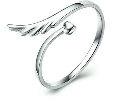 NEW Cute Women Silver Jewelry Love Heart Ring With Adjustable Wrap Band