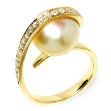 Unique Golden South Sea Pearl Ring with Diamonds in 18kt Yellow Gold .30ctw 12MM