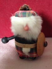 Quirky Wooden Figure of a Scotsman With Shield &  Wearing Tartan Kilt And Beret