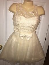 Juniors Size 5 DRESS Winter White Lace Cocktail Party Holiday Above Knee NWOT