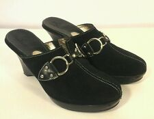 COLE HAAN Black Suede Mules Clogs SHOES US  7.5 B UK 5.5 EUR  39