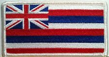 State of Hawaii Flag Iron-On Patch Biker Emblem White Merrow Border