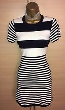 Exquisite Karen Millen Navy White Stripe Dipped Hem Knit Dress UK8-10