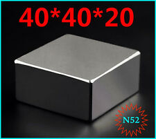 1pc Block 40x40x20mm SUPER STRONG N52 High Quality Rare Earth Magnet Neodymium