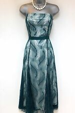 Stunning Strapless Coast Jade Lace Belted Evening Occasion Dress 10