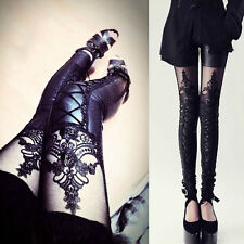 Fashion Women Pants PU Leather Lace Embroidered Stretchy Leggings JQ