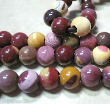 "Mookaite Jasper 12mm Round Large 4mm Hole Beads 8"" Gold Yellow Red Mauve"