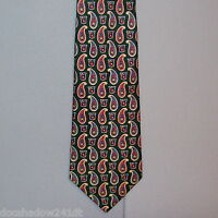 Tommy Hilfiger Green & Burgundy Paisley Silk Neck Tie made in USA #195
