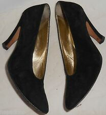 ESCADA Vintage Shoes Pumps Heels Black Suede Leather 37 7 HapaChico Haute Coutur