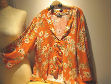 LADIES LAGENLOOK TOP SHIRT 20 UK FLORAL 100% POLYESTER 3/4 SLEEVE