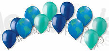 12 pc Space Astronaut Inspired Latex Balloon Party Decoration Earth Globe Blue