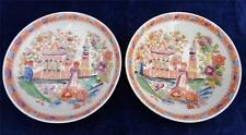 Antique English Porcelain Printed & Coloured Chinoiserie Hilditch Type Saucers