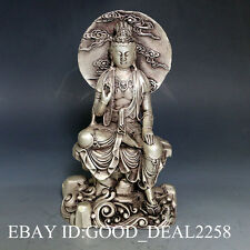 Vintage Oriental Chinese Silver Copper Hand-carved Buddha Statue --Buddha