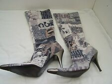 Size 6 grey mix knee high stiletto boots from Prodotto Tutto