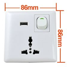 E67 3 Pin 10A Modular Light Wall Socket Switch USB Power Supply Port Interface