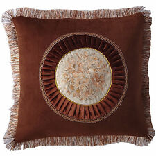 Brown Fringe Circle Floral Decorative Throw Pillow Case Cushion Cover 18""