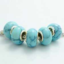 5pcs Turquoise Silver Charm round Spacer Beads Fit EUROPEAN Charm Bracelets C128