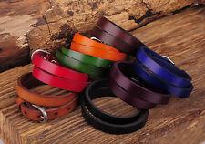 NG557 Lot 8PC Biker Rock Trendy Double Wrap Leather Cowhide Buckle Bracelet Cuff