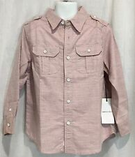 New Boy's Button Down Oxford Dress Shirt Brick Red Pink Long Sleeve Top Size 6