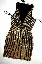 NWT bebe black gold mesh deep v sequin sparkling clubbing top dress L large 10