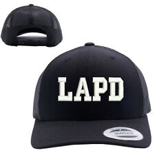 LAPD LOS ANGELES POLICE DEPT MESH TRUCKER SNAP CLOSURE CAP HAT BLACK